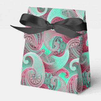 Himbeer-und Aqua-Paisley-Damast-Muster Geschenkschachtel