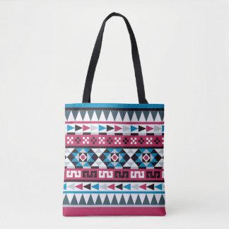 Himbeere und blaues aztekisches geometrisches tasche