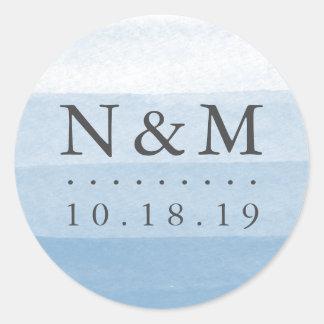 Himmel-Bad-Färbungs-Aquarell-Hochzeits-Monogramm Runder Aufkleber