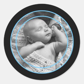 Himmel-Blau-und Schwarz-Foto-Rahmen Runder Aufkleber