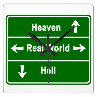 Himmel, wirkliche Welt u. Hölle Quadratische Wanduhr