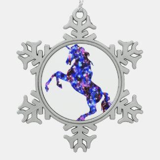Himmelbild des blauen schönen Einhorns der Galaxie Schneeflocken Zinn-Ornament