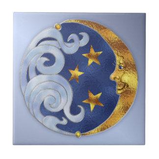 Himmlischer Mond und Sterne Keramikfliese