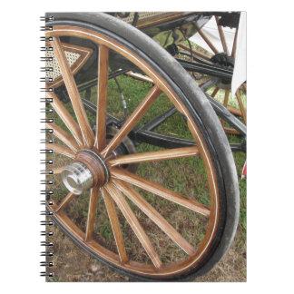 Hintere Räder des altmodischen Pferdewagens Spiral Notizblock