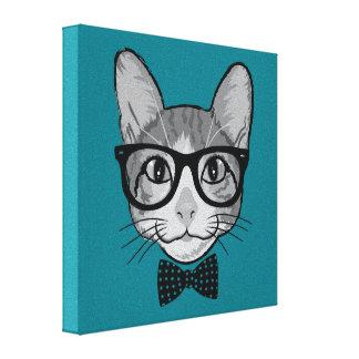 Hippie de chat avec la cravate d'arc de pois impressions sur toile