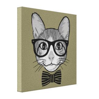Hippie de chat avec la cravate d'arc toiles tendues sur châssis