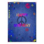 Hippie-Hippie-Geburtstags-Karten-Blau