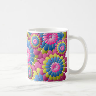 Hippie psychédélique flower power mug blanc