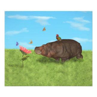 Hippopotame heureux, fleur, papillons photographes