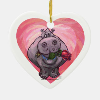 Hippopotamus-Valentinstag Keramik Herz-Ornament