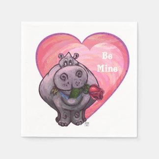 Hippopotamus-Valentinstag Papierserviette
