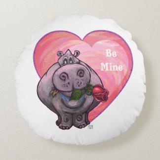 Hippopotamus-Valentinstag Rundes Kissen