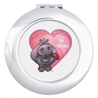 Hippopotamus-Valentinstag Taschenspiegel