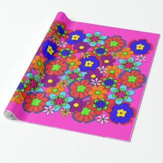 Hippy Retro Blumen Geschenkpapier