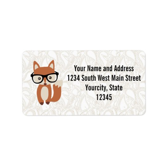Hipster-BabyFox w/Glasses Adressaufkleber