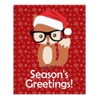 Hipster-Feiertagfox-Glas-Tier-Weihnachten 11,4 X 14,2 Cm Flyer