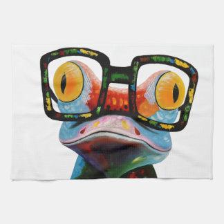 Hipster-Glas-Frosch Handtuch