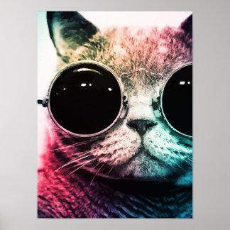 Hipster-Katzen-Pop-Kunst Poster