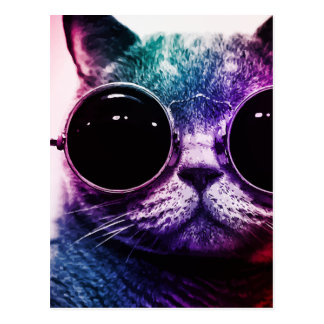 Hipster-Katzen-Pop-Kunst Postkarte