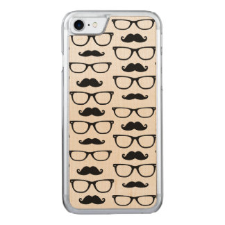 Hipster-Schnurrbart und Glas-Punkt-Muster Carved iPhone 8/7 Hülle