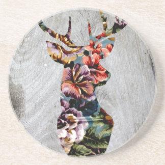 Hipster-Vintage Blumenrotwild-Kopf-Silhouette Bierdeckel