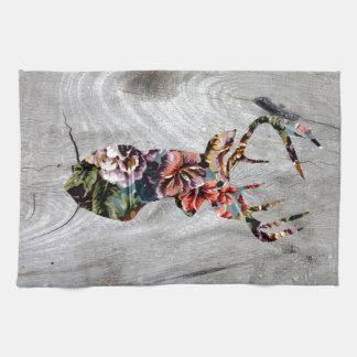 Hipster-Vintage Blumenrotwild-Kopf-Silhouette Küchentuch