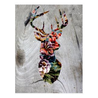 Hipster-Vintage Blumenrotwild-Kopf-Silhouette Postkarte