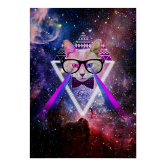 Hipstergalaxiekatze Poster