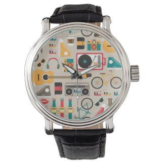 Hipsterrific Hipster-Sache-Muster (Cinereous) Armbanduhr