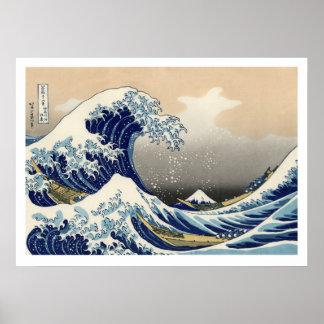 Hiroshige - die große Welle weg von Kanagawa Poster