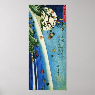 Hiroshige Mond über Wasserfall-schöner Kunst Plakat