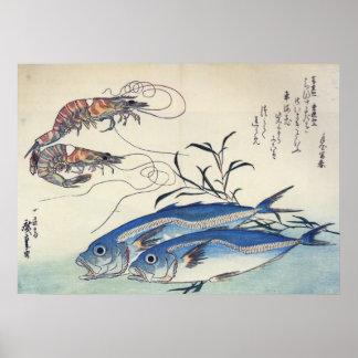 Hiroshige - Pferd Mackeral und Garnelen Poster
