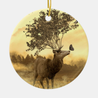 Hirsch Fantasie-Natur-Kunst-Illustration Keramik Ornament