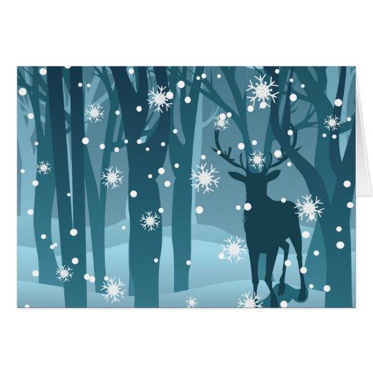 Hirsch im Winter Forest2 Karte