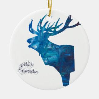 Hirsch mit Fröhliche Weihnachten Keramik Ornament