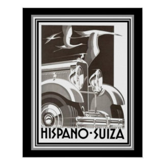 Hispano-Suiza Kunst-Deko-Druck durch Alex Kow Poster