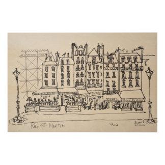 Historische Rue St Martin, Paris, Frankreich Holzdruck
