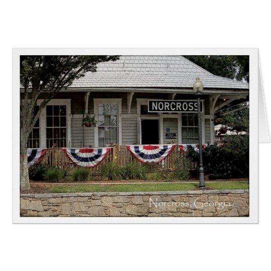 Historisches Norcross GA: Zug-Depot Juli 3. Mitteilungskarte