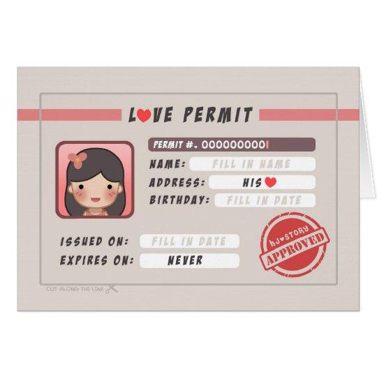 HJ-Geschichte Liebe-Erlaubnis - Mädchen Mitteilungskarte