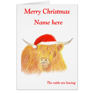 Hochland-Kuh-Weihnachtskarte, kundengerecht Grußkarte