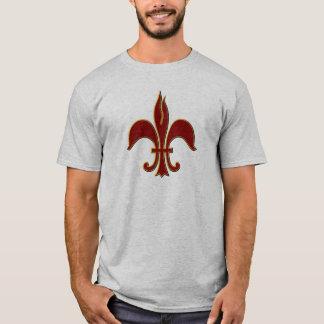 Hochrot-und GoldLilie - grundlegender T - Shirt