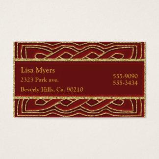 Hochrotes Rot u. verziertes metallisches Gold Visitenkarte