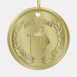 Hochsprungs-Gold tonte Medaillen-Verzierung Keramik Ornament