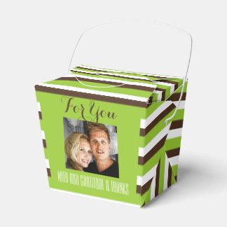 Hochzeit Browns grüne FOTO-Streifen Geschenkkartons