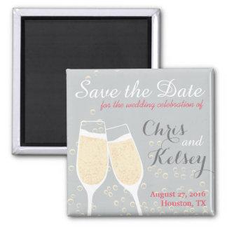 Hochzeit Champagne Save the Date Quadratischer Magnet