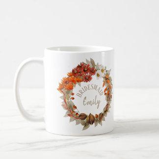 Hochzeit im Herbstwreath-orange Brautjungfern-Name Kaffeetasse