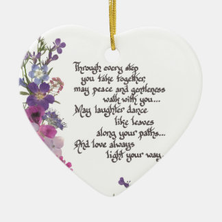 Hochzeit oder Verlobungs-Geschenk Keramik Herz-Ornament