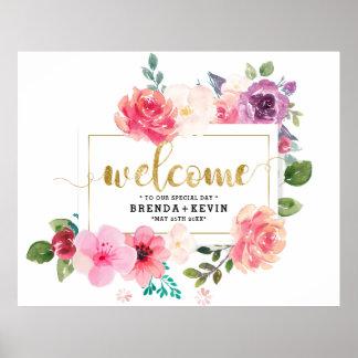 Hochzeit Plakat-Willkommen Typografie-Blumenrahmen Poster