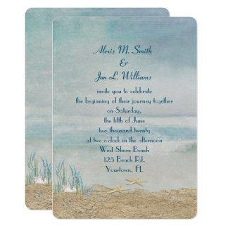 Hochzeit Starfish auf Strand Karte
