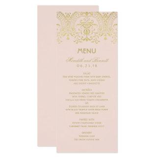Hochzeits-Abendessen-Menü kardiert   GoldVintagen 10,2 X 23,5 Cm Einladungskarte